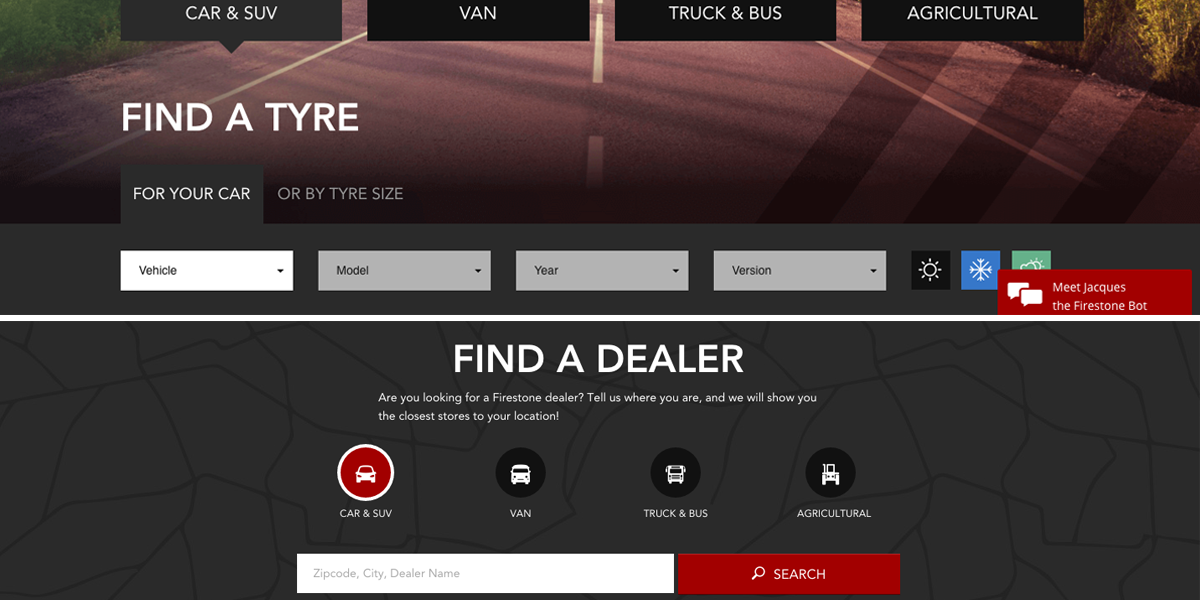 Firestone sections find a tyre fond a dealer
