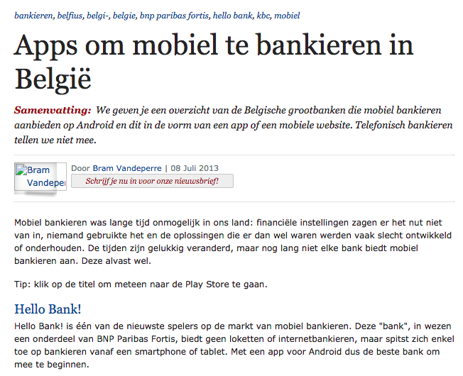 ZDNet Apps for mobile banking services in Belgium